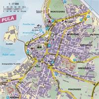 карта города Пула в Хорватии